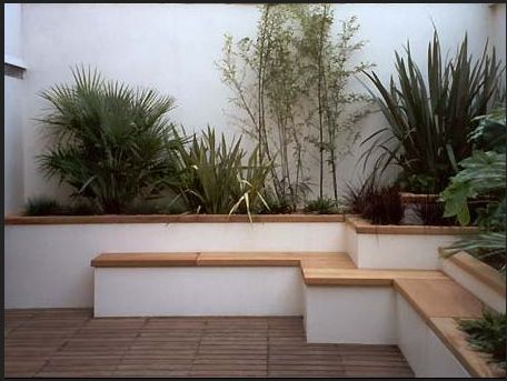 White Walls and light paving can help to lift a shady space