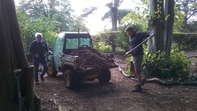Peter and Ed spreading shredded bark in the new 'Bug Village'