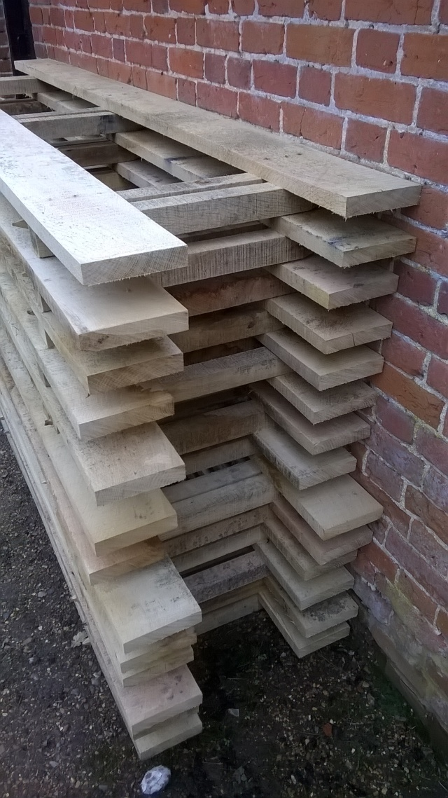 Oak boards and pegs awaiting installation