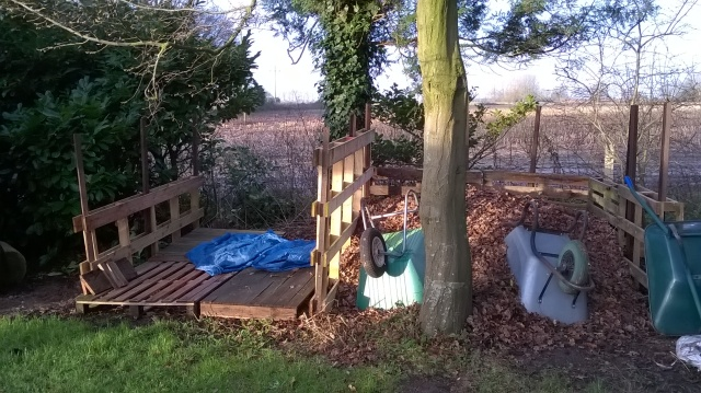 Awaiting logs (left) and a new leaf mould bay (right)