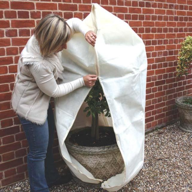 Fleece comes in all shapes and sizes, like this zip up jacket protector for tender shrubs by Harrod Horticultural