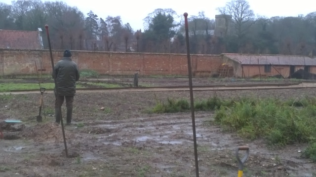 Peter takes a break amidst a gloomy day in the Walled Garden