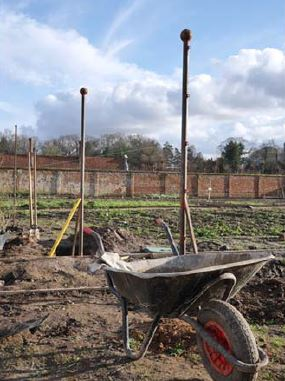 Posts all in- 76 have been set into concrete around the walled garden. Picture Blickling Estate