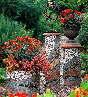 mosaic pillars
