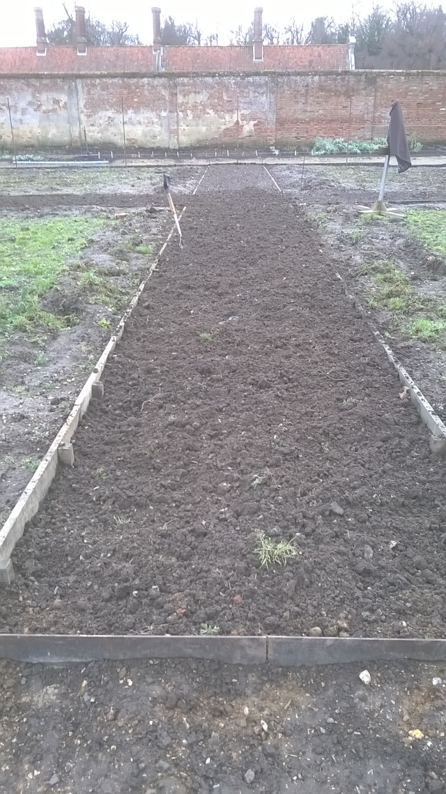 Nearly there...forking over and topping up the cross paths ready for grassing over