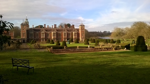 Blickling Hall and The Parterre looking splendid in a low winter sun