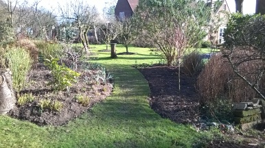 Newly extended borders and planting near the pond...