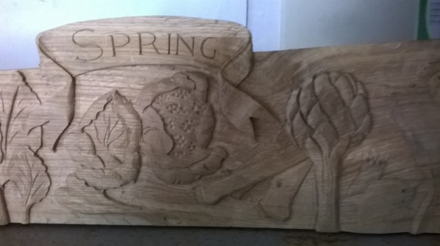 Sneak preview...part of the carved oak rail to be set atop the new noticeboard