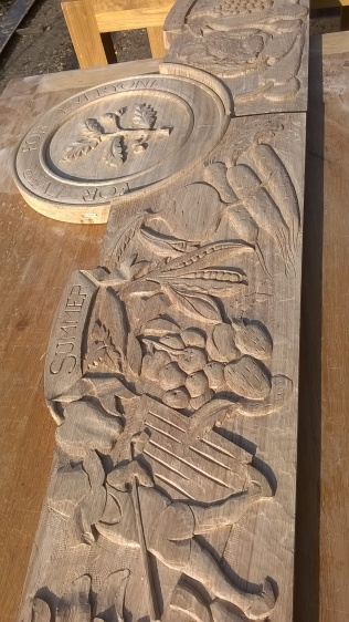 Another part of the wonderful, carved oak trim for the noticeboard...