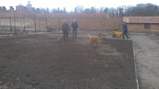 ...after...spread and raked to finish off the main beds in the Walled Garden