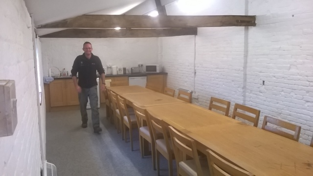 'Tea time Team!'- Mike in the new Bothy...will it be too comfortable for our own good?!