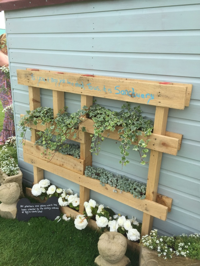 Planter made from pallets seen by my old friend Nick at the Tatton Flower Show