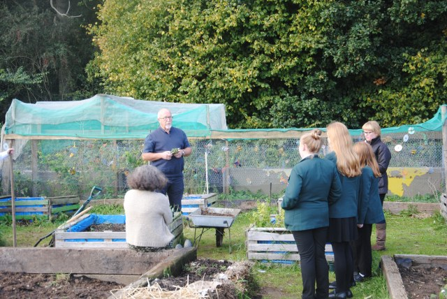 For once, a picture of me talking to the girls about broad beans...yawn