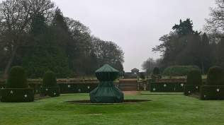 Wrapped up for winter..the fountain in the parterre