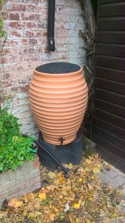 a new 'beehive' water butt for our courtyard- awaiting fitting